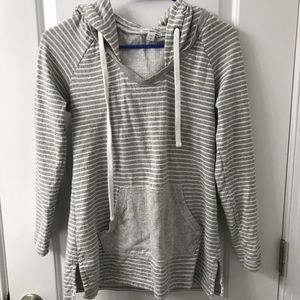 James Perse striped lightweight hoodie pullover